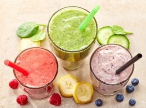 glasses of various smoothies